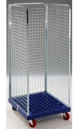 Rollcontainer Lavanderia Carrello Contenitore Base Plastica 3 Pareti H