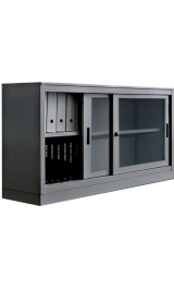 Libreria Smontabile Metallica Con Ante Scorrevoli In Vetro 1 Piano Spo