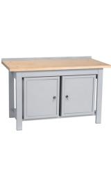 Banco Da Lavoro Legno 2 Armadietti Piano Inferiore Cm150x75x90