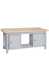 Banco Da Lavoro Legno 2 Armadietti Piano Inferiore Cm200x75x90