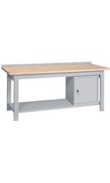 Banco Da Lavoro In Legno Armadietto Piano Inferiore Cm200x75x90