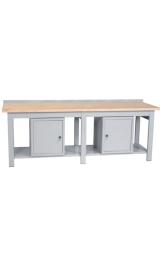 Banco Da Lavoro Ripiano In Legno 2 Armadietti Piano Inferiore Cm250x75