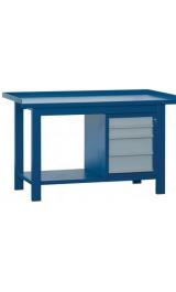 Banco Da Lavoro In Ferro 4 Cassetti Piano Inferiore Cm150x75x90