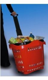 Cestino Trolley Spesa Plastica Su Ruote Maniglia Telescopica Lt43 Per
