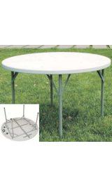 Tavolo In Plastica Polietilene Rotondo Gambe In Ferro Pieghevoli Cm121