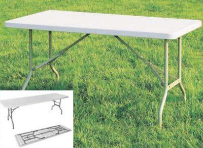Gambe Metalliche Pieghevoli Per Tavoli.Tavoli Tavolo In Plastica Con Gambe In Ferro Pieghevoli Cm 183x76xh