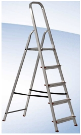 Scala Apribile In Alluminio 06 Gradini Antiscivolo H124m Gaia