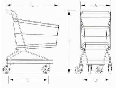 Carrelli Carrello da per Supermercato Self-Service Spesa Zinco Cromato 60 litri