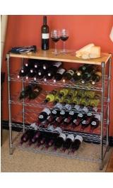 Scaffale Cantinetta Porta 24 Bottiglie Con 4 Ripiani E Tagliere In Mas