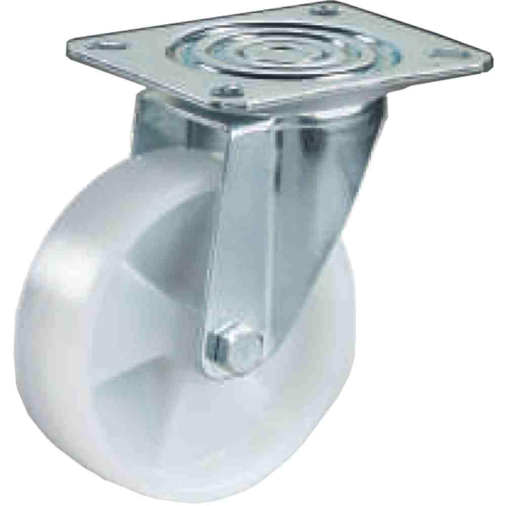 Ruota In Nylon Bianco Supporto Girevole D150 Per Carrelli