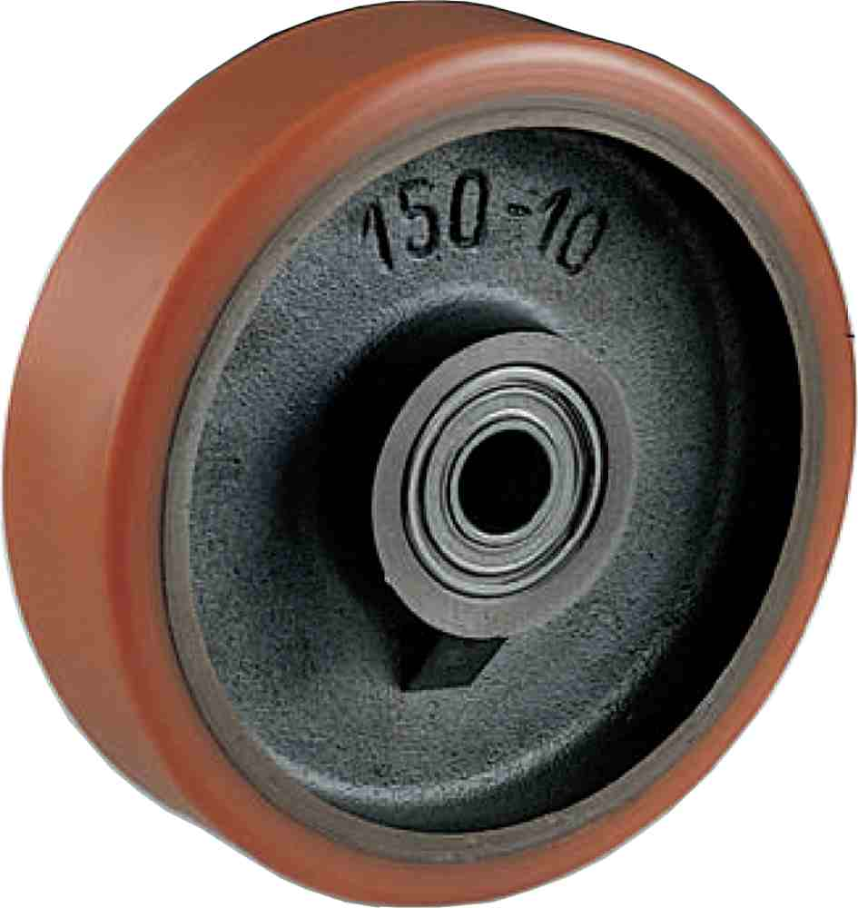 Ruota In Ghisa Rivestita Poliuretano Diametro Mm100x30 Con Cuscinetti