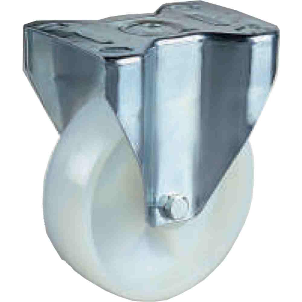Ruota Nylon Bianco Supporto Fisso D125 Per Carrelli