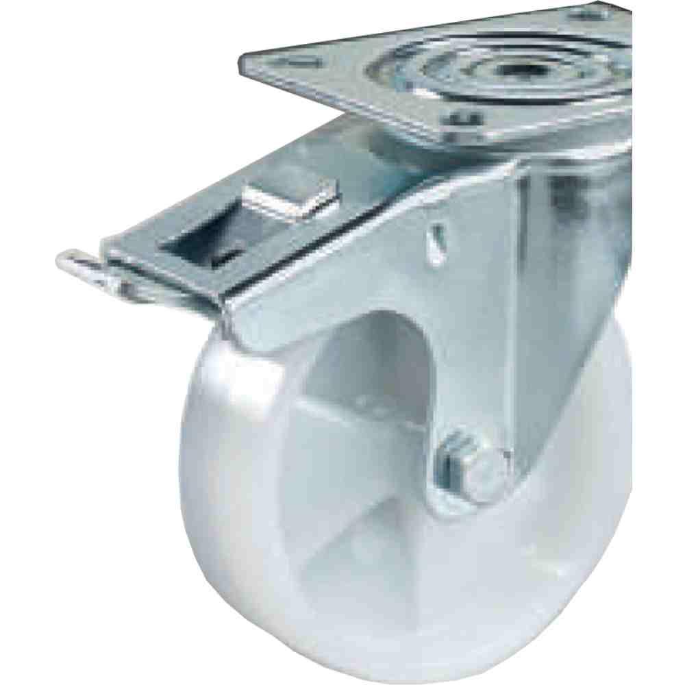 Ruota Nylon Bianco Supporto Girevole Freno D150 Per Carrelli